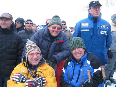 Legends of American ski racing watch the Visa Birds of Prey super combined race at Beaver Creek, CO. (l to r) Jimmie Heuga, '64 Olympic SL bronze medalist, Chuck Ferries, former Kitzbuehel SL champ, and Bob Beattie, former U.S. Ski Team head coach (Nov. 30)