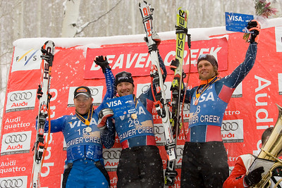 Men's downhill podium (l-r) Didier Cuche, Bode Miller and Steve Nyman. For one time editorial use only. Credit: Jack Affleck/ Beaver Creek Resort. For one-time editorial use only.