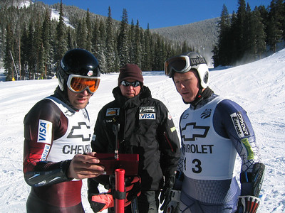 (l to r) Jake Zamansky, technician Andy Buckley, and Kevin Francis check times from training runs taken at Keystone Resort.