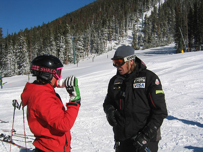 Women's Tech Head Coach Chris Knight discusses the course with Caitlin Ciccone at the Keystone Resort training camp.