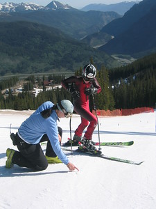 Coach Mendes - Recently reitred World Cup racer Jonna Mendes (South Lake Tahoe, CA) gives Steamboat's Max Marno some pointers.