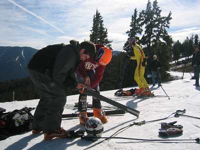 Team Work: NDS campers Taylor Wunsch (SNSC) and Michael Ankeny (Buck Hill) work on skis at the top of Copper Mountain's Ptarmigan run.