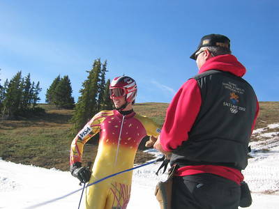 Burke's Treavor Leafe and NDS Technical Advisor Kevin McDevitt at the top of Copper Mountain's Ptarmigan run.