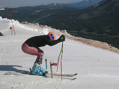 Rowmark's Andy Phillips in the gate at the top of Copper Mountain's Ptarmigan run at the NDS June camp.