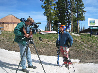 Steamboat Springs Winter Sports Club's Ann West does an interview for Denver's KUSA at the bottom of Copper Mountain's Ptarmigan and Copperopolis runs.