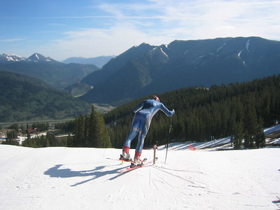 NDS racer goes out the gate on a beautiful early morning atop Copper Mountain at the NDS June camp.