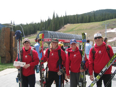 All smiles after training - (l to r) Burke's Nolan Kasper, Team Summit's Katie Hartman, Ski Club Vail's Erika Ghent, Mt. Bachelor Ski Education Foundation's Tommy Ford