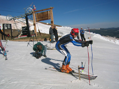 Ready, Set .... Ski Club Vail's Will Gregorak well positioned for early morning GS training at Copper Mountain where the NDS annual June camp was held this year.