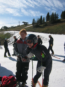 Ski Club Vail's Hunter Schleper and Afton Alps' Chad Lawrence at the top of Copper Mountain at the June NDS camp.