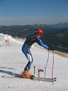 Ski Club Vail's Will Gregorak eyes up the GS course at the top of Copper Mountain's Ptarmigan run.