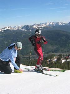 Tips from the Pros - Recently reitred World Cup racer Jonna Mendes (South Lake Tahoe, CA) gives Steamboat's Max Marno some pointers.