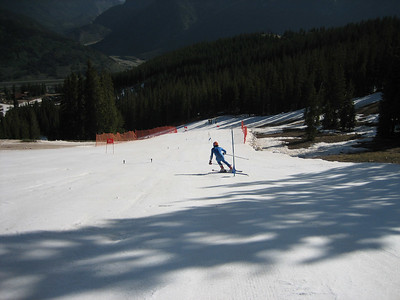 NDS racer Nick Daniels (Squaw Valley Ski Club)takes GS turns on Copper Mountain's Ptarmigan run.