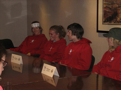 Meet the Press: NDS kids do a press conference at Copper Mountain (l to r)  Tommy Ford, Erika Ghent, Nolan Kasper, Katie Hartman
