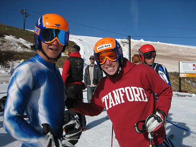 All Smiles! Squaw Valley's Nick Daniels and Buck Hill's Michael Ankeney at the top of Copper Mountain's Ptarmigan run.