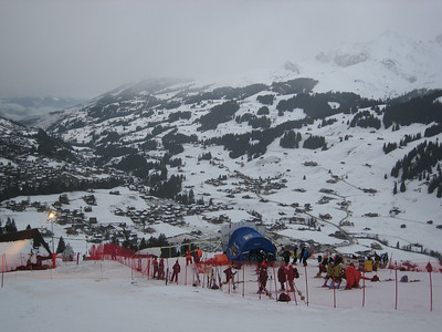 Rain soaks the slalom hill during the first inspection of the morning in Adelboden (credit: Doug Haney/U.S. Ski Team)
