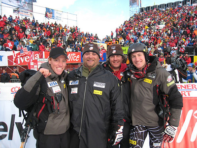 Jimmy Cochran (right) celebrates his second solid result in Adelboden after finishing eighth in slalom with Team physical therapist Paul Frankham, coach Greg Needell and head coach Sasha Rearick  (credit: Doug Haney/U.S. Ski Team)