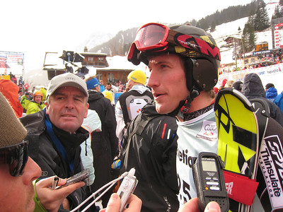Jimmy Cochran talks with media in the slalom finish area  (credit: Doug Haney/U.S. Ski Team)
