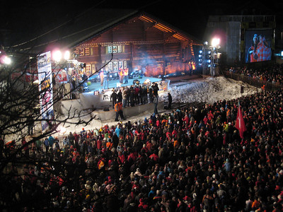 Thousands attend the giant slalom bib draw on Friday, Jan. 4 in Adelboden, Switzerland. The top 15 skiers where zoomed to the stage via zip line (credit: Doug Haney/U.S. Ski Team)