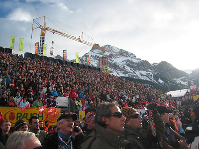 22,000 packed the stands and lined the course during the giant slalom in Adelboden (credit: Doug Haney/U.S. Ski Team)