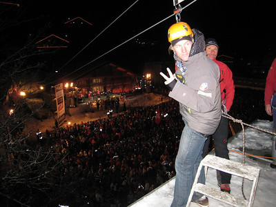 Ted Ligety correctly predicts the number he'll draw for the GS start before hitting the zip line (credit: Doug Haney/U.S. Ski Team)