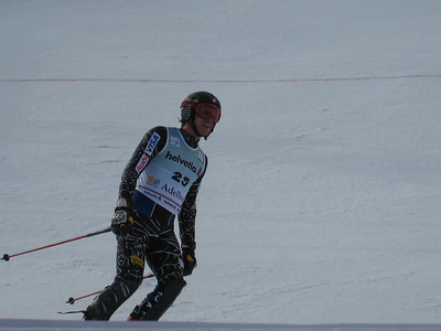 Jimmy Cochran checks the scoreboard to see his top-10 finish in Adelboden  (credit: Doug Haney/U.S. Ski Team)