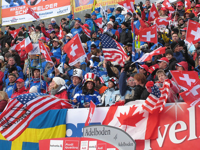 U.S. fans get fired up to see Ted Ligety and Jimmy Cochran in the second run of slalom from Adelboden  (credit: Doug Haney/U.S. Ski Team)
