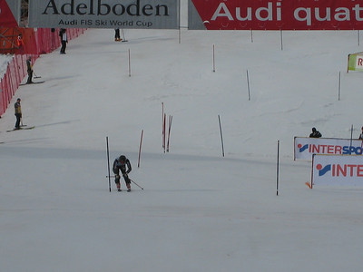 Jimmy Cochran stretches for the finish after the first slalom run in Adelboden  (credit: Doug Haney/U.S. Ski Team)