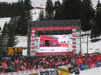 Ted Ligety pushes out of the start on the big screen during the first run of slalom in Adelboden  (credit: Doug Haney/U.S. Ski Team)