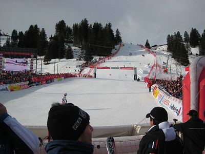 The sun peeks out during the first run of giant slalom in Adelboden (credit: Doug Haney/U.S. Ski Team)