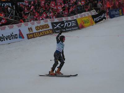 Ted Ligety celebrates in the finish after an incredible first slalom run in Adelboden  (credit: Doug Haney/U.S. Ski Team)