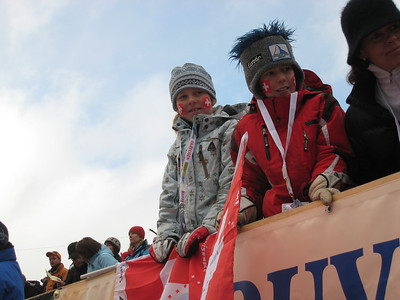 Young swiss fans wait for a signature from Jimmy Cochran at Adelboden  (credit: Doug Haney/U.S. Ski Team)