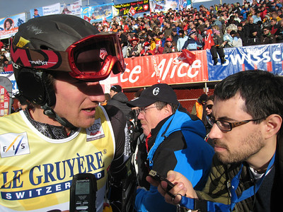 Jimmy Cochran interviews with Associated Press writer Frank Jordans following the first run of giant slalom in Adelboden (credit: Doug Haney/U.S. Ski Team)