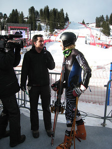 Ted Ligety interviews with Swiss television following a horrific crash during the giant slalom. Ligety suffered minor bruises (credit: Doug Haney/U.S. Ski Team)