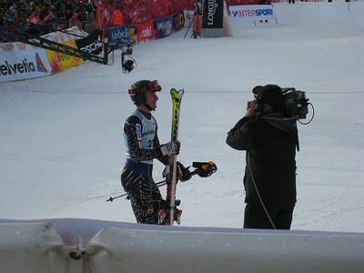 Jimmy Cochran gets some TV time after an excellent slalom result in Adelboden  (credit: Doug Haney/U.S. Ski Team)