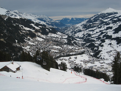 A view down the valley in Adelboden, Switzerland from the giant slalom start (credit: Doug Haney/U.S. Ski Team)