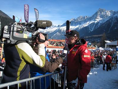 Marco Sullivan interviews with British TV after winning the downhill in Chamonix (Doug Haney/U.S. Ski Team)