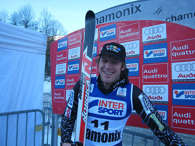 Marco Sullivan smiles in the leader box after winning the downhill in Chamonix for his first World Cup victory (Doug Haney/U.S. Ski Team)