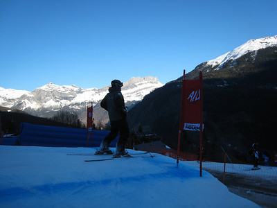 Marco Sullivan inspects the road jump during downhill training in Chamonix (Doug Haney/U.S. Ski Team)