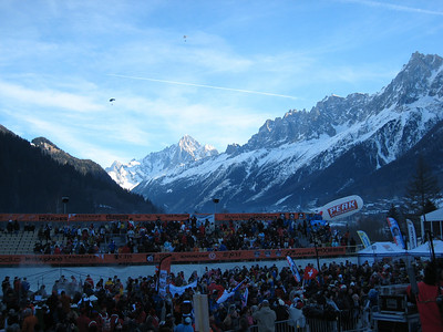 Paragliders hover over the finish area prior to the start of the downhill in Chamonix (Doug Haney/U.S. Ski Team)
