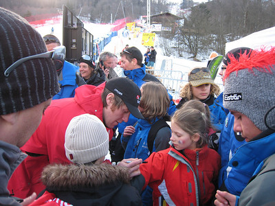 Chamonix downhill champion Marco Sullivan signs autographs for young fans after his first World Cup victory (Doug Haney/U.S. Ski Team)
