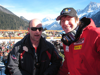 Marco Sullivan (right) poses with his Nordica technician Seppi Zanom after winning the downhill in Chamonix (Doug Haney/U.S. Ski Team)