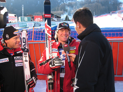 Marco Sullivan interviews with Swiss television following his first World Cup victory (Doug Haney/U.S. Ski Team)