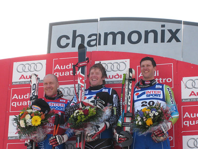 (l-r) Didier Cuche, Marco Sullivan and Andrej Jerman on the downhill podium in Chamonix, where Sullivan claimed his first World Cup victory (Doug Haney/U.S. Ski Team)
