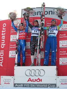 Marco Sullivan (center) on the downhill podium with Swiss Didier Cuche (left) and Andrej Jerman of Slovenia for his first World Cup victory (Doug Haney/U.S. Ski Team)