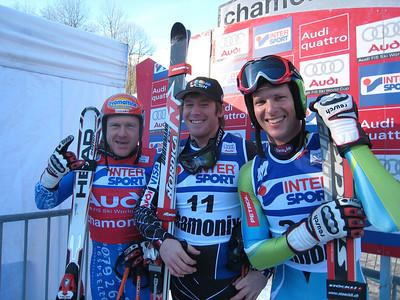 (l-r) Didier Cuche, Marco Sullivan and Andrej Jerman in the leader box at Chamonix (Doug Haney/U.S. Ski Team)
