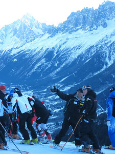 U.S. coach Rewk Patten points out the line to Andrew Weibrecht during downhill training in Chamonix (Doug Haney/U.S. Ski Team)