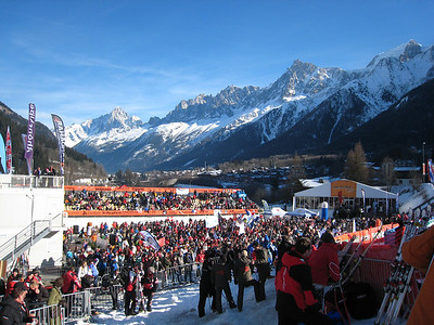 The Chamonix finish arena basks in sun as Marco Sullivan takes the downhill victory (Doug Haney/U.S. Ski Team)