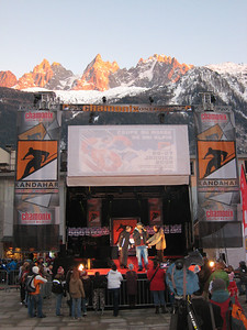 The stage in the center of Chamonix, site of the awards ceremonies and bib draws (Doug Haney/U.S. Ski Team)