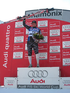 Marco Sullivan stands high atop the Chamonix podium after winning the downhill for his first World Cup victory (Doug Haney/U.S. Ski Team)