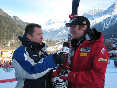 Chamonix downhill champion talks with CBC Sports reporter Nick Fellows after his first World Cup victory (Doug Haney/U.S. Ski Team)